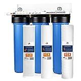 "3-Stage Big Blue 20"" Whole House Filtration System by Aquaboon+Housing Bracket+Pressure Gauges+Carbon Block+Sediment+String Wound Sediment Filter Cartridges"