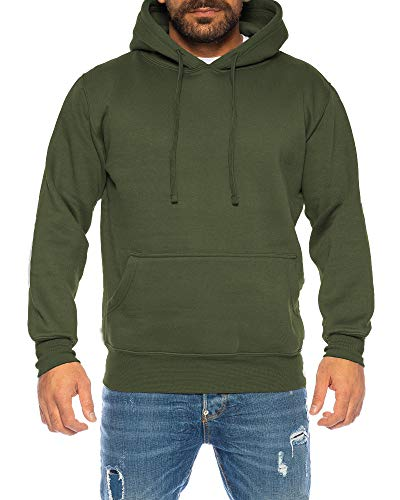 Raff & Taff Hoodie Kapuzenpullover Sweatshirt Sweater Pullover | S - 6XL | Sport Alltag Freizeit | Premium Baumwolle Fleece Innenseite (Oliv, XL)