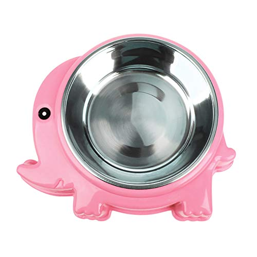 Lai-LYQ Krab Olifant Vorm Huisdier Bowl Voedsel Water Container RVS Hond Kattenvoer - Roze S Olifant
