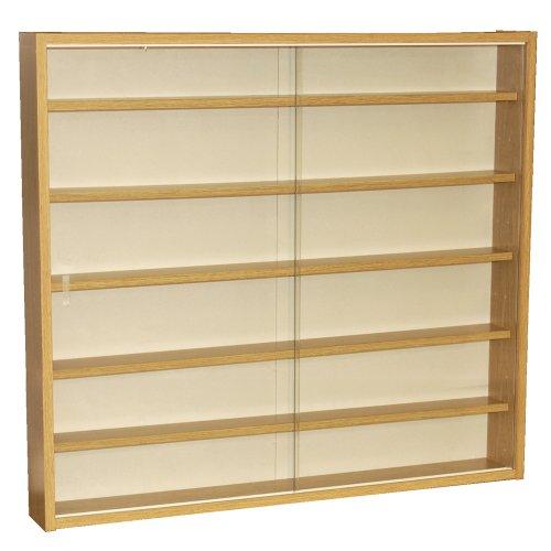 WATSONS REVEAL - 6 Shelf Glass Wall Collectors Display Cabinet - Oak