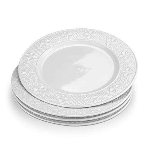 STAR MOON 11.3' Large Dinner Plates, Elegant European Charm Ceramic Tableware Plates, Microwave&Dishwasher Safe, Four-Leaf Clover Collection, Set of 4 (Ivory White)