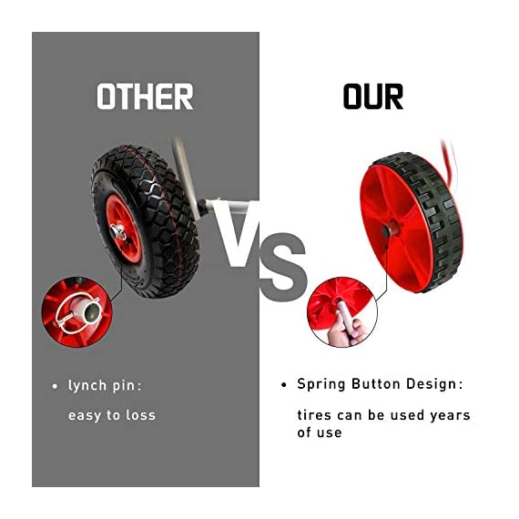 """Onefeng Sports 175LBS Kayak Cart Boat Carrier with Adjustable Width Axle for Carring Kayaks Canoes Spring Button Design… 3 ☀【ADJUSTABLE POLES】The distance between 2 poles is adjustable from 24-40cm(9.4""""-15.7""""). ☀【NEW TIRES】Plastic tires with rubber sheaths,won't slip.Tires are environment-friendly,odourless smelless.Size:25×7cm(9.8""""×2.7"""") ☀【PADDED DESIGN & MATERIAL】Black cover to protect your kayak or canoe.Made of Stainless Steel.Capacity:175 lbs.as been inserted into the trolley tube so don't worry to loss.We have fixed the strap(10ft) on the rubber cones,easy to fasten the kayak."""