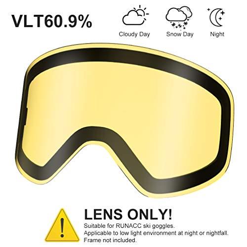 RUNACC Occhiali da Sci Maschera Uomo Donna con Lente antiappannamento e Protezione UV400 al 100% per Sciare o Pattinare