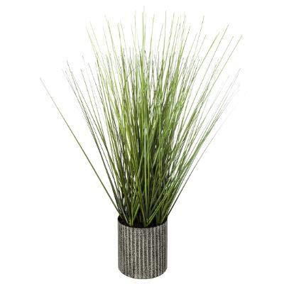 Erba artificiale in vaso di metallo, altezza: 45 cm, erba artificiale, vaso da fiori