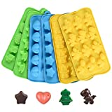 Chocolate Molds Silicone Candy Mold- Hard Candy Silicone Gummy Molds Including Stars, Hearts, Dinosaurs, Robots and Assorted Cute Designs Nonstick BPA Free Set of 6