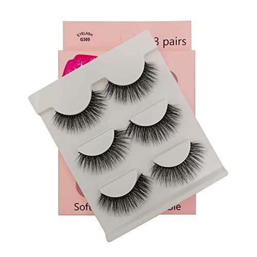 SHIDISHANGPIN 3 paires de cils Cils naturels 3D Essential Beauty Essentials Fluffy Faux Cils Maquillage Professionnel Épais Faux-Cils Réutilisables Fabriqués à la Main # G300