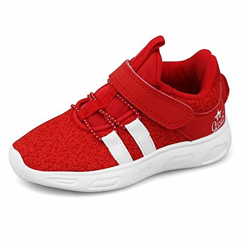Basket Enfant Sneakers Mode Garçon Chaussure de Sport Élève Respirant Soulier Antidérapantes Label 27 Rouge