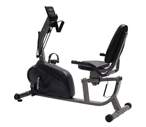 HOMCOM Fitness Recumbent Bike Magnetic Resistance Exercise Bike Stationary Cycling Bike, Pad Holder with LCD Monitor, Indoor Cardio Workout, Black