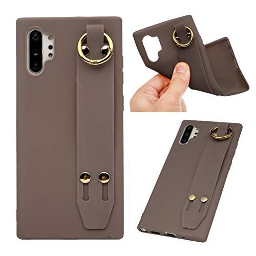 Vogu'SaNa Kompatible für Handyhülle Samsung Galaxy Note10 Plus Hülle Silikon Case Cover mit Band Ständer Anhänger Tasche Dünn Schutzhülle Handytasche Skin Softcase Schale Bumper TPU Etui-Kaffee