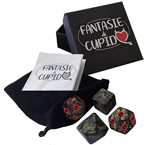Fantasie di Cupido Dadi da Gioco di Coppia Divertente e Originale - Giochi Set di 4 Dadi con Sacchetto di Velluto Ideali per San Valentino, Addio al C