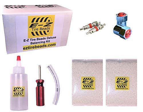 E-Z Tire Beads Deluxe Motorcycle Kit, Ceramic Dynamic Balancing 2 oz Front + 2 oz Rear Balance Beads (4 Total), Applicator Kit, Chrome Caps, Valve Cores