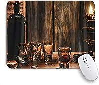 KAPANOU マウスパッド、古典的なワインボトルCandlelig おしゃれ 耐久性が良い 滑り止めゴム底 ゲーミングなど適用 マウス 用ノートブックコンピュータマウスマット