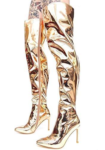 女性のオーバーザブーツ、秋冬スタイルのキャットウォーク、ゴールドシルバーミラー光沢のある革PUスティレットヒール、大型の尖ったオーバーニーブーツ、ヒールの高さ11 cm,2,40EU/6.5UK