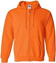 Gildan Classic Fit Adult Full Zip Hooded Sweatshirt, Safety Orange, X-Large