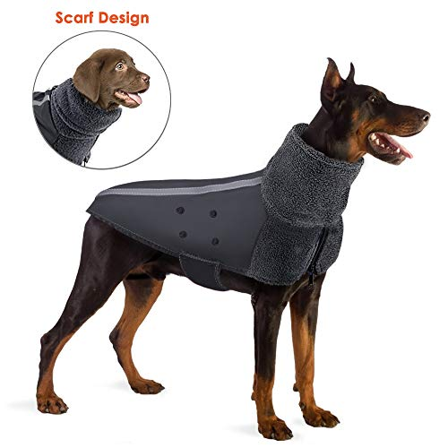 SlowTon Winter Dog Coat, Warm Polar Fleece Lining Doggie Outdoor Jacket with Turtleneck Scarf Reflective Stripe Adjustable Waterproof Windproof Puppy Vest Soft Pet Outfits (X-Large, Grey)