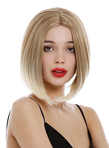 WIG ME UP - YZF-4367-27T613 Perruque femmes courte concave Choppy Bob carré long raie centrale mélange blond