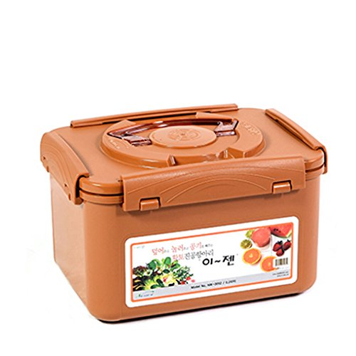E-Jen Premium Kimchi, Sauerkraut Container Probiotic Fermentation with Inner Vacuum Lid (Earthenware Brown, 1.3 gal/ 5.2L)