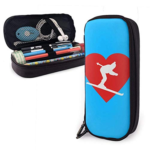 Yuanmeiju New Style I Love Skiing (2C) Multifunction Canvas Leather Estuche Pen Bag Makeup Pouch