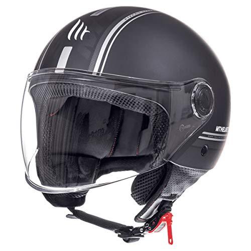 MT Street Jet-Helm Motorrad-Helm Roller-Helm Scooter-Helm Bobber Mofa-Helm Chopper Retro Cruiser Vintage Pilot Biker ECE 22.05 (Enitire Matt Schwarz, L)