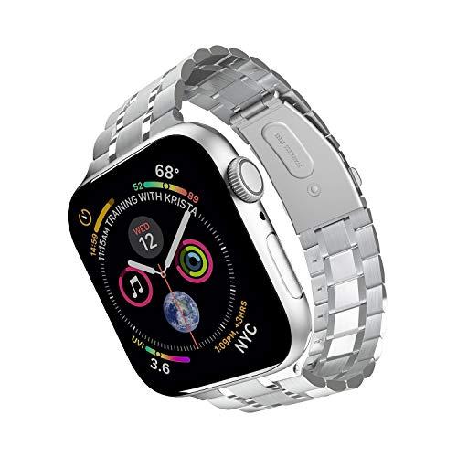 ARTCHE 44 mm 42 mm Uhrenarmband für Apple Watch, verbesserte Version, iWatch-Armbänder aus Edelstahl, Ersatz-Gliederarmband, kompatibel mit Apple Watch Serie 6 SE 5 4 3 2 1, Silber