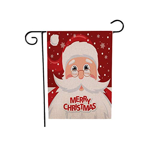 12.5 x 18 Inch Merry Christmas Garden Flag, Happy New Year Decor for Christmas, Double Sided Santa Claus Flags Yard Outdoor Ornaments