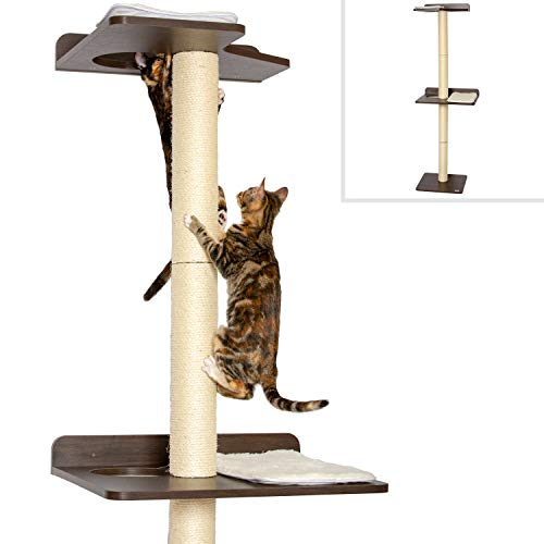PetFusion Ultimate Cat Climbing Tower & Activity Tree. (24 x 20.8 x 76.8 inches (lwh) Tall Sisal Scratching Posts, Modern Wall Mounted cat Furniture, Espresso Finish). 1 Year Manufacturer Warranty
