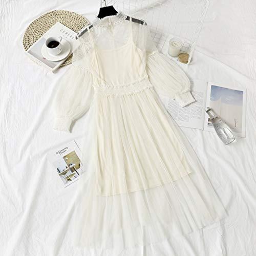 Janly Clearance Sale vestido de mujer, vestido de moda con bordado de flor, manga de farol, vestido de dos piezas, para otoño e invierno, blanco, talla única