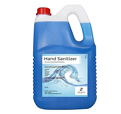 LACOSSI Germ Protection 70% Alcohol based Aloe Vera Liquid Hand Sanitizer (5 Litre) (5 Ltr.) Blue/Double (Large, Blue #$)