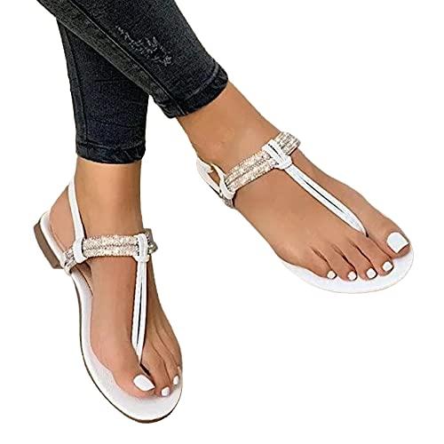 Winging Chanclas de Punta Abierta para Mujer de Moda Zapatos Casuales de Talla Grande Pisos Hebilla Correa en Forma de J Sandalias Romanas de Playa de Color Sólido con Solapa Plana de PU 35-43EU