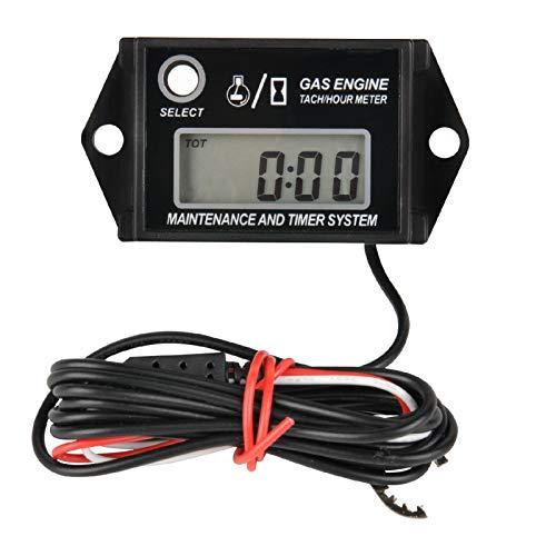 Runleader - Tacómetro Digital con medidor de Horas, recordatorio de Mantenimiento, recuperación máxima de RPM, Uso para ZTR, cortacésped, Tractor, generador, Fuera de borda Marino, Jetski, Motor