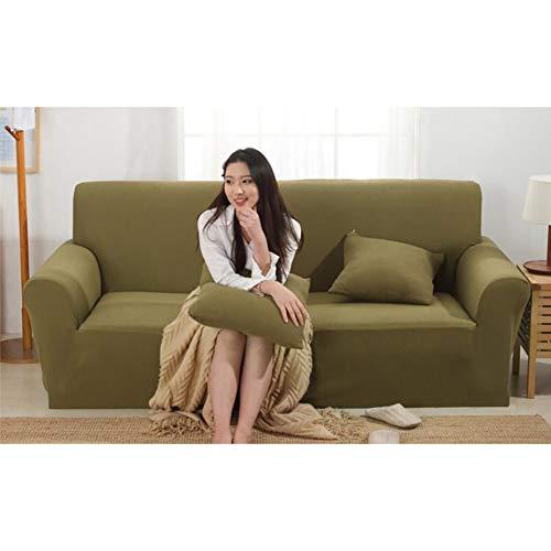 NanSy Stretch Funda para sofá, Telar Sofá Funda de sofá Elástico Espesar Todo Incluido 1,2,3,4 plazas Apretados del Paquete Funda Cubre sofá para el sofá de Cuero-Verde Oliva Three Seats 75-91inch
