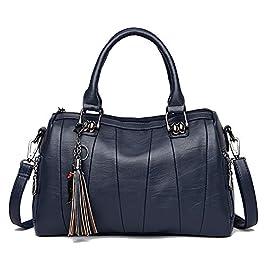 Coolives Sac à Bandoulière en Cuir PU pour Femme Boston Sacs a main Sac a épaule Vintage Chic Elegant Sac Bleu