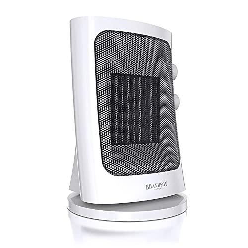 Brandson – Termoventilatore ceramico – 1500 W – Termostato – Oscillante - Alto 32 cm – Silenzioso e performante – Stufetta con funzione ventilatore per diffusione calore