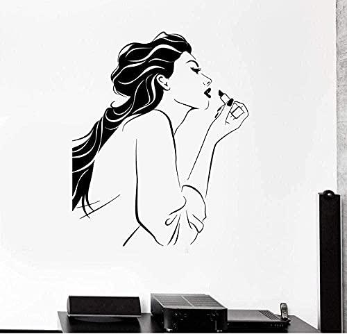 Muursticker PVC Verwijderbare Muursticker Cosmetische Schoonheidssalon Make Stylist Meisje Persoonlijkheid Interieur Decoratie Muursticker 57x72cm72