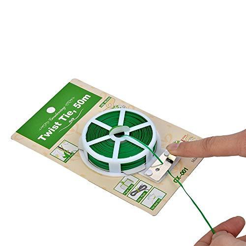 OUPAI Sonnensegel Sunblock Sonnenschutznetz 5 stücke Gartenpflanze Twist Tie Rolle, wiederverwendbare Kunststoffkind, Multi-Use-Robustbaum-Krawattenkabel mit Fräser für Stützpflanzen und -Angeborene m