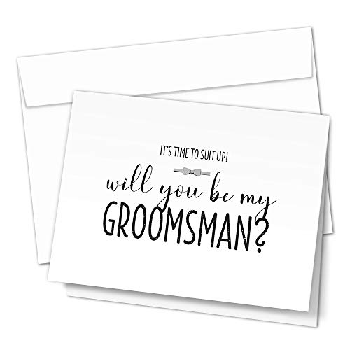 Groomsman Proposal Cards by Hat Acrobat | 8 Will You Be My Groomsman and 2 Best Man Cards with Envelopes | Set of 10 Black and White Groomsmen Cards (10)