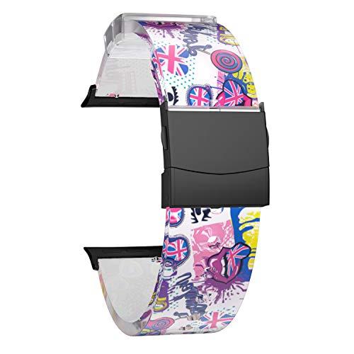 SOUWILA Compatible con Caucho Correa Reloj 38 mm 40 mm 42 mm 44 mm iWatch Series 6/5/4/3/2/1 Caucho Correa Reloj con Acero Inoxidable Hebilla Desplegable (42mm, PinkWhite-Black)
