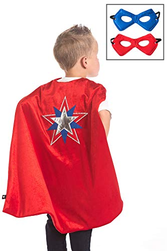 Little Adventures Super Hero Cape & Mask Set Costumes Age 3-8 (Red Star)