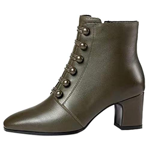 SHOBDW Damen Knopf Ankle Round Toe Zipper nackte Stiefel Square Heel Short Booties Damen Stiefeletten Übergrößen mit Reißverschluss