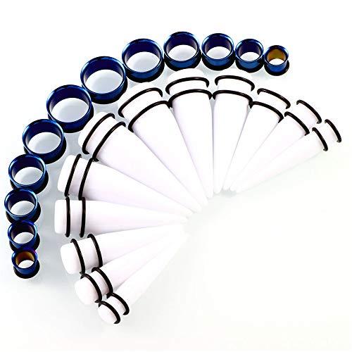 YIJIAHUI Kit für Dehnungsmessstreifen Acryl-O-Ring Chirurgenstahl Rohr Tunnel Plug Cone Set Edelstahl konisch Kegel Ohr Stretching Set 24 Stück (Color : Dark Blue Plus White)