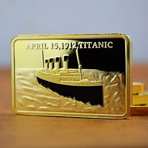 Titanic,Münzen,Sammlerstücke,Fein,Vergoldet,Gedenk Ziegel,Liebe,Kreuzfahrten,Geschenke,Herausforderung Münzen Kunstwerk/golden/Quadrat