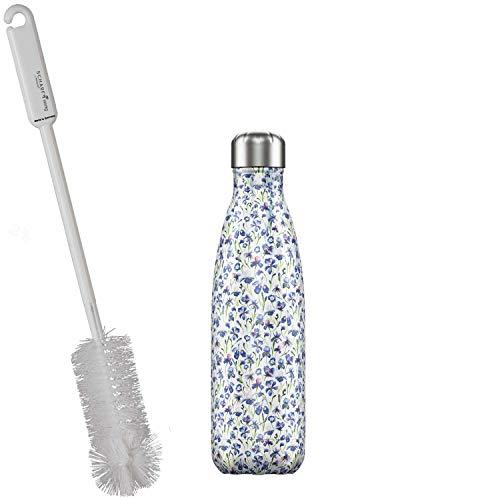 CHILLYs Trinkflasche & Isolierflasche Floral Iris Bottle - Edelstahl Thermos Wasserflasche - Flasche hält 24 Std. kalt & 12 Std. heiß + SCHARFsinnig Flaschenbürste