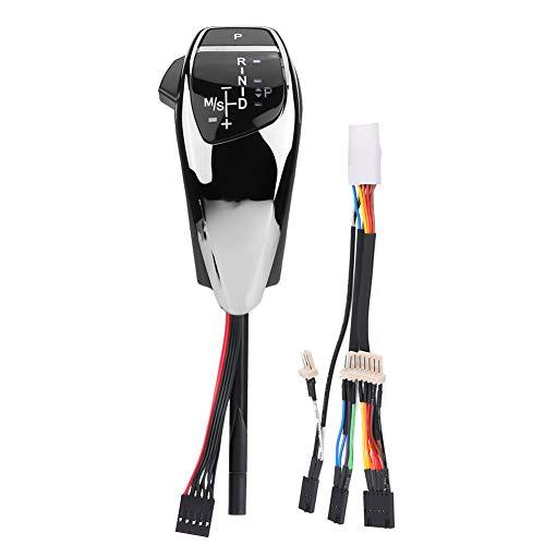 Niunion Pomello del Cambio a LED, LHD Pomello del Cambio Automatico a LED Leva del Cambio Compatibile con BMW E46 E60 E61 E63 E64(Nero Cromato)