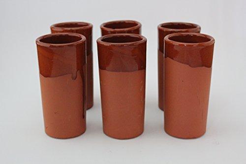 6 VASOS CAÑA TUBO DE BARRO 160 ml Medidas 12,5cm alto x 6cm diámetro. CONJUNTO DE 6 VASOS