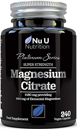 Magnesium Citrate 1480mg - Magnesium Capsules not Magnesium Tablets - Providing 444mg Elemental Magnesium - 240 Vegan Capsules - 4 Month Supply - High Strength Magnesium Supplement - Made in The UK