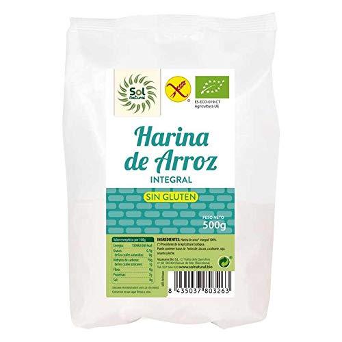 SOLNATURAL HARINA DE ARROZ Integral SIN Gluten Bio 500 g, Estándar, Único