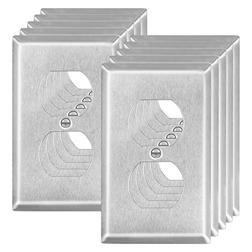 ABBOTECH 1-Gang Duplex Metal Wall Plates, Standard Size Stainless Steel Outlet Cover, Corrosive Resistant, Silver, 10 Pack