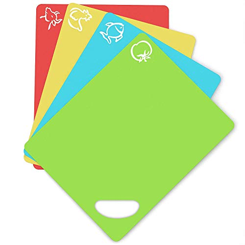 Extra Thick Flexible Plastic Cutting Board Mats With Holes For Hanging And Food Icons & EZ-Grip Waffle Back, (Set of 4) Dishwasher Safe