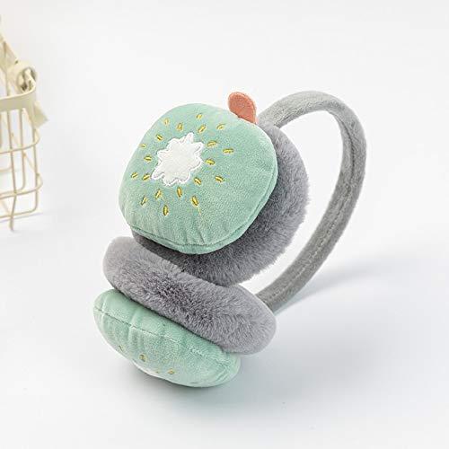 Orejeras de invierno para niños y niñas, cálidas y cálidas, de piel de conejo, de peluche, orejeras gruesas, orejeras de invierno cálidas (color: fruta kiwi)