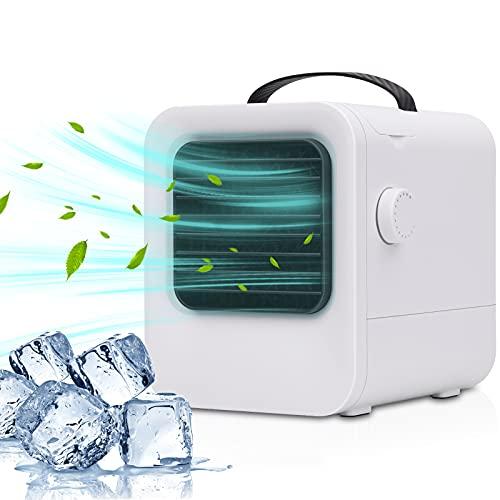 Tohoer Persönliche Klimaanlage Usb-C Air Cooler Mini, Klimagerät Luftkühler Geräuschsenkung und LED Licht, Mobile Verdunstungsklimaanlage für Zuhause Büro Schlafzimmer und Outdoor